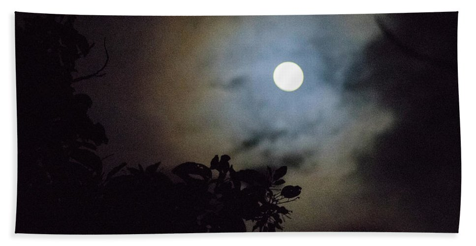 The Moon Hand Towel featuring the photograph Full Moon by Totto Ponce