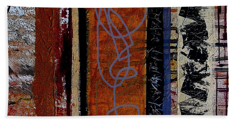 Abstract Bath Sheet featuring the mixed media Full Of Surprises by Ruth Palmer