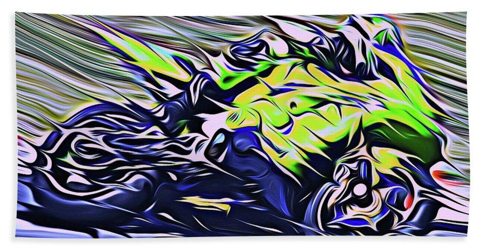 Motorcycle Hand Towel featuring the digital art Fullspeed On Two Wheels 8 by Jean-Louis Glineur alias DeVerviers