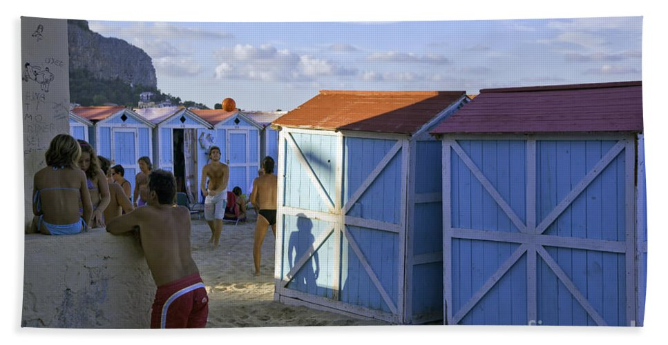 Cabana Hand Towel featuring the photograph Fun At Mondello Beach by Madeline Ellis