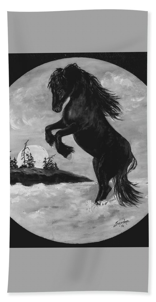 Friesian Horse Hand Towel featuring the painting Fun In The Surf by Sandra Maddox