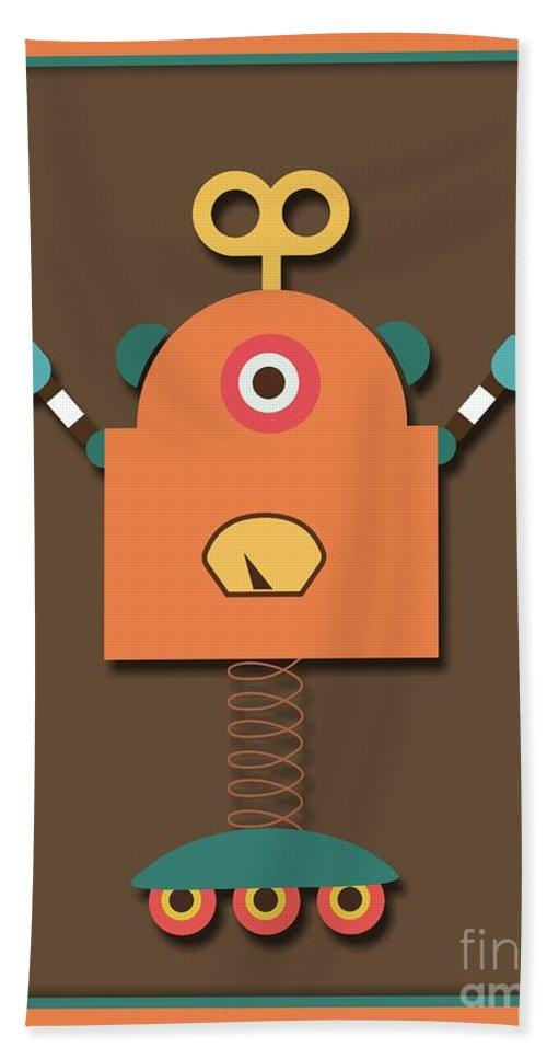 Retro Hand Towel featuring the digital art Fun Retro Robot Toy by Alondra Hanley