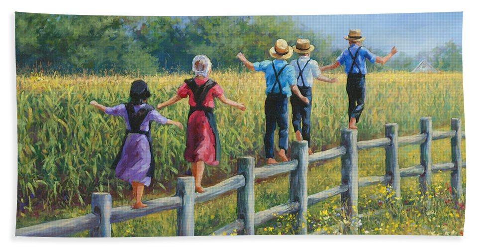 Amish Children Bath Towel featuring the painting Girls Can To by Laurie Snow Hein