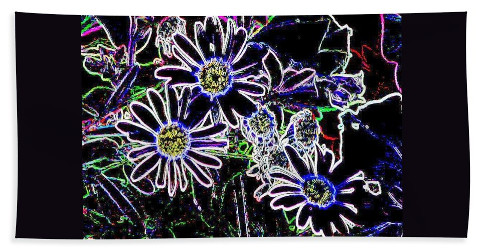 Flowers Hand Towel featuring the digital art Funky Flowers by Anita Burgermeister