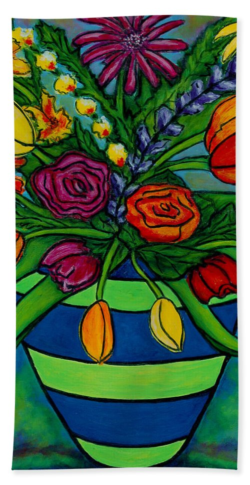 Flowers Hand Towel featuring the painting Funky Town Bouquet by Lisa Lorenz