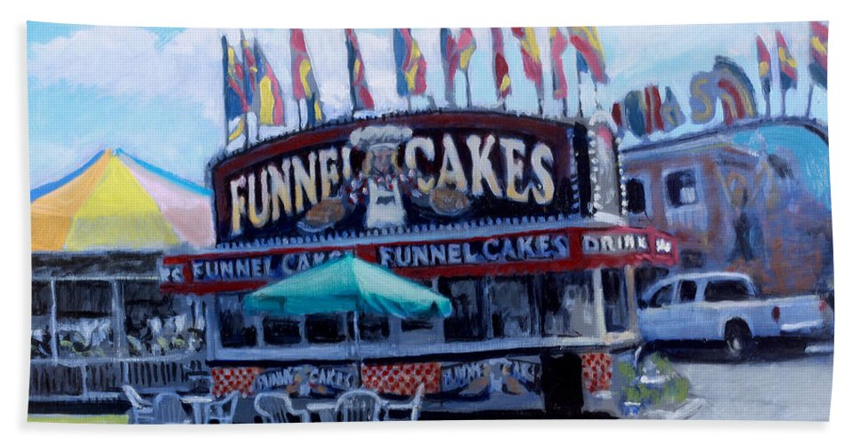 Carnival Paintings Hand Towel featuring the painting Funnel Cakes by David Zimmerman