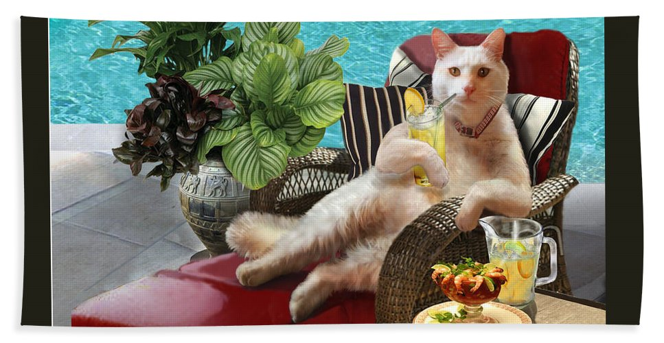 Funny Cat Picture Hand Towel featuring the painting Funny Pet Vacationing Kitty by Regina Femrite
