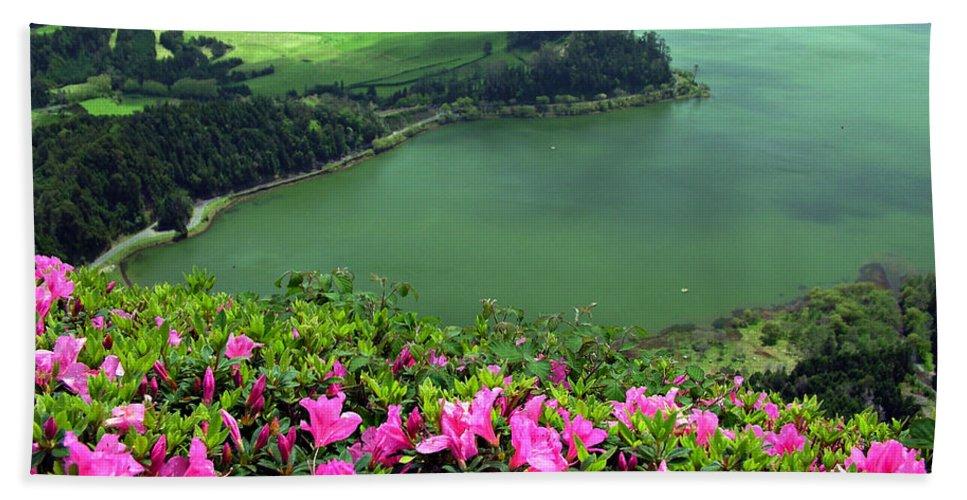 Azaleas Bath Towel featuring the photograph Furnas Lake Azores by Gaspar Avila