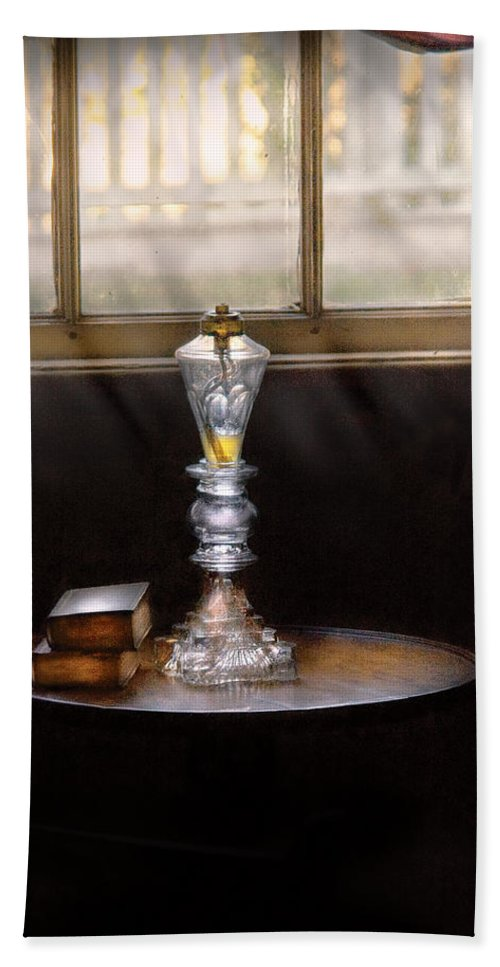 Savad Bath Sheet featuring the photograph Furniture - Lamp - The Oil Lamp by Mike Savad