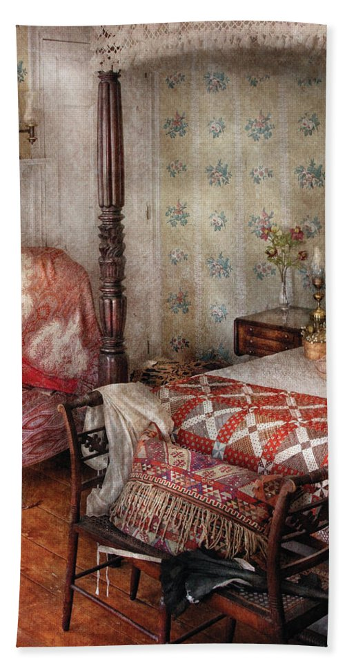 Savad Bath Sheet featuring the photograph Furniture - Bedroom - A Place To Sleep by Mike Savad