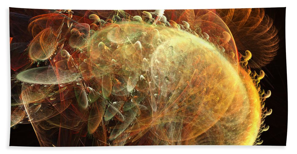 Sea Shell Bath Towel featuring the digital art Furry Sea Shells by Ron Bissett