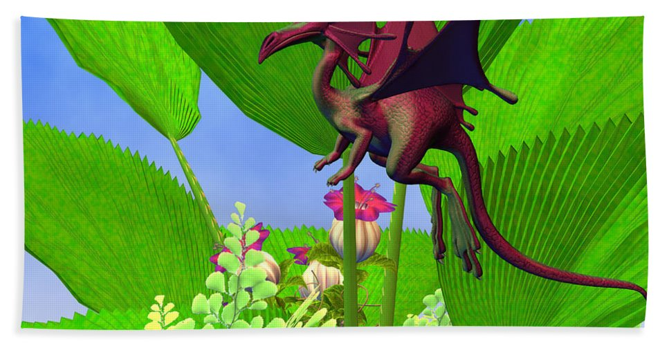 Dragon Hand Towel featuring the painting Fury Flying Dragon by Corey Ford