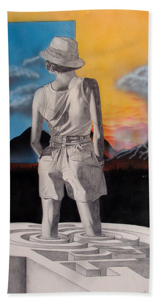 Shaun Hand Towel featuring the painting Future by Shaun McNicholas