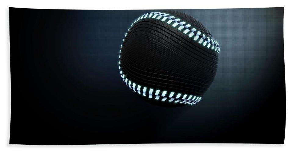 Baseball Bath Towel featuring the digital art Futuristic Neon Sports Ball by Allan Swart