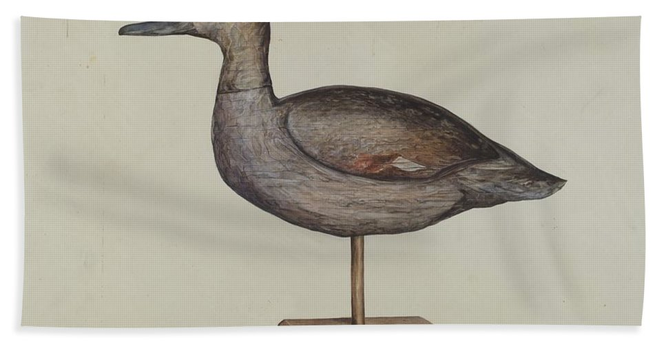 Hand Towel featuring the drawing Gadwall Decoy by Samuel W. Ford