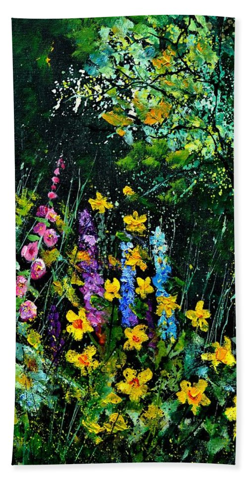 Flowers Bath Sheet featuring the painting Gaeden Flowers by Pol Ledent