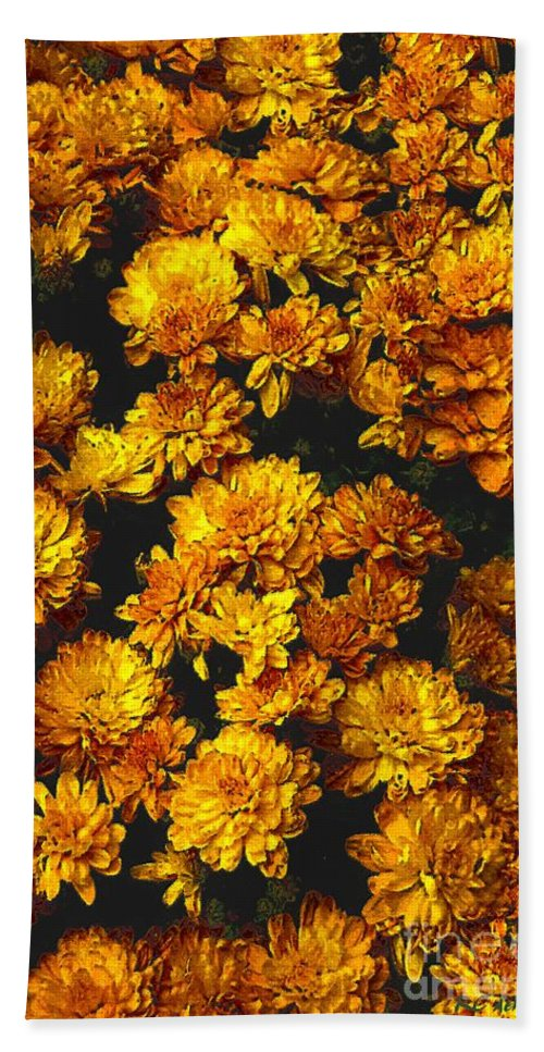 Autumn Bath Sheet featuring the painting Gaia's Gold by RC DeWinter