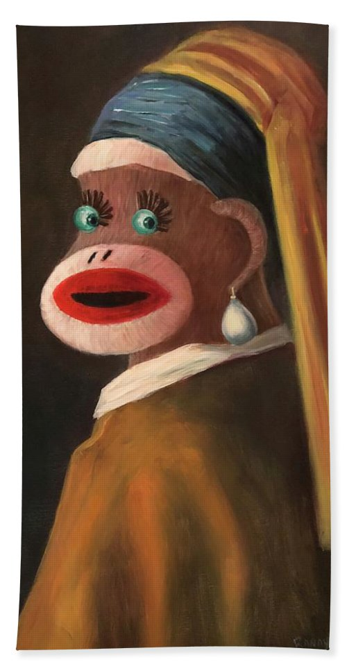 Sock Monkey Bath Sheet featuring the painting Gal With A Pearl Earring by Randy Burns