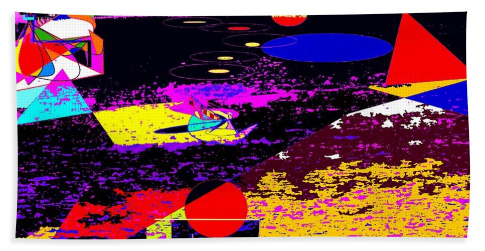 Abstract Bath Sheet featuring the digital art Galactic Voyages by Ian MacDonald