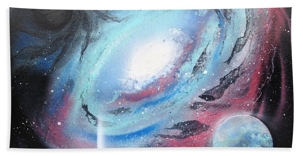 Black Hole Hand Towel featuring the painting Galaxy 2.0 by Tyler Haddox