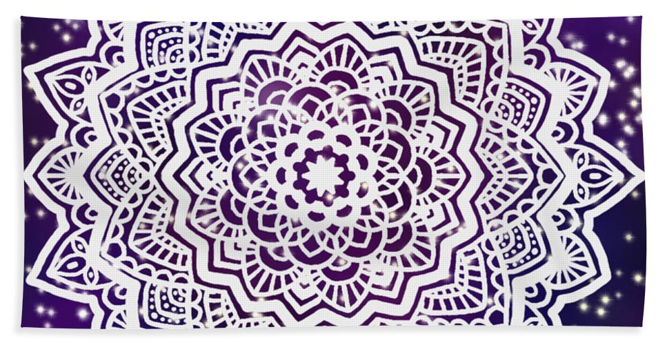 Digital Bath Sheet featuring the painting Galaxy Mandala by Abira Bose