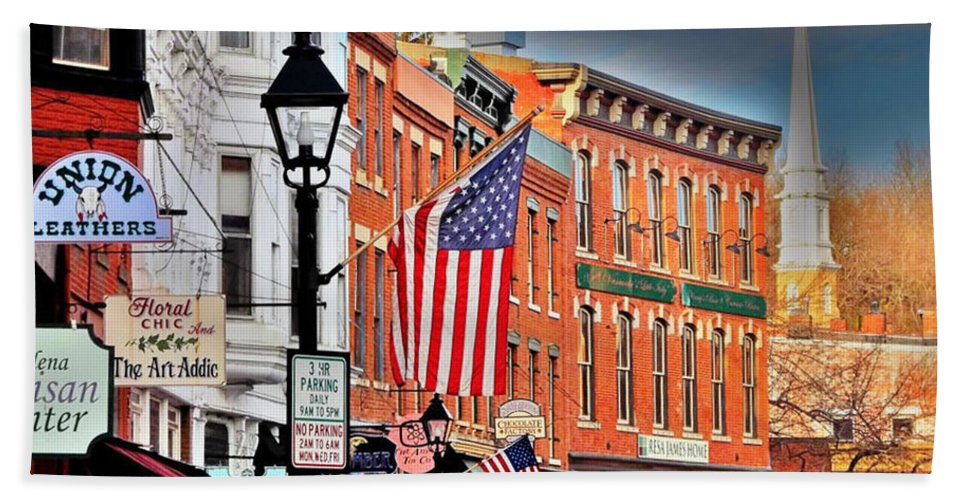 Buildings Hand Towel featuring the photograph Galena On A Perfect Day by Laura Birr Brown