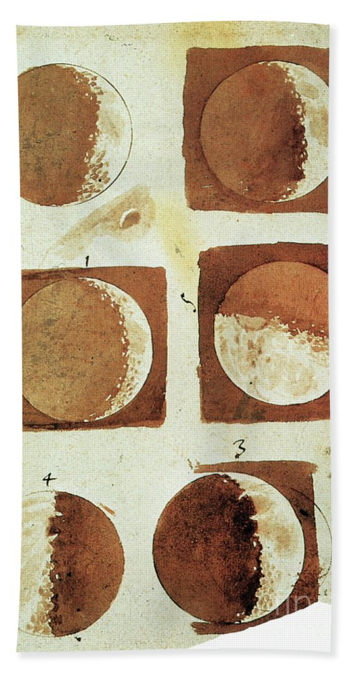 1610 Hand Towel featuring the painting Galileo - Moon by Granger