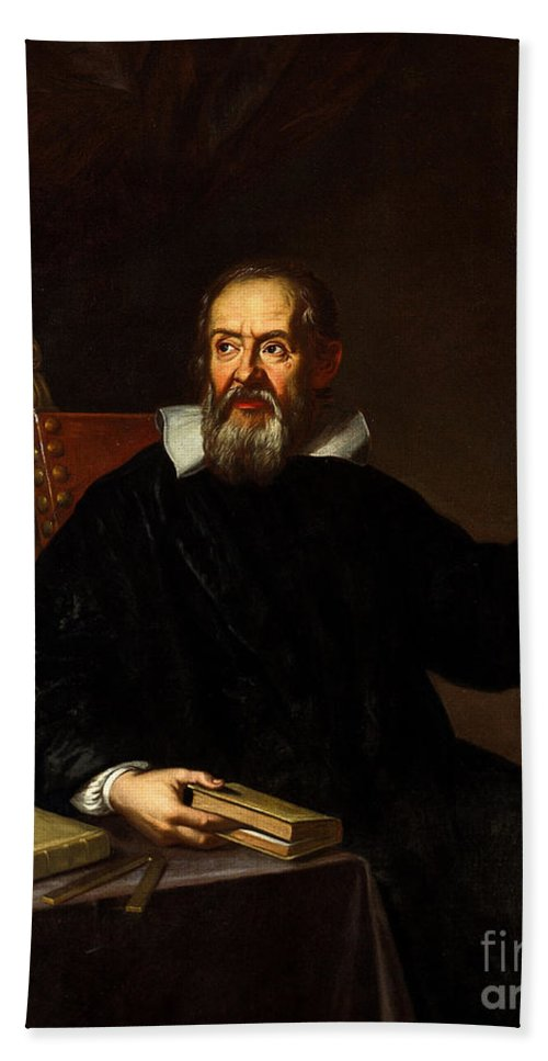 Astronomer Hand Towel featuring the photograph Galileo Galilei, Italian Astronomer by Wellcome Images