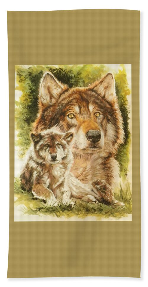 Wolf Hand Towel featuring the mixed media Gallant by Barbara Keith