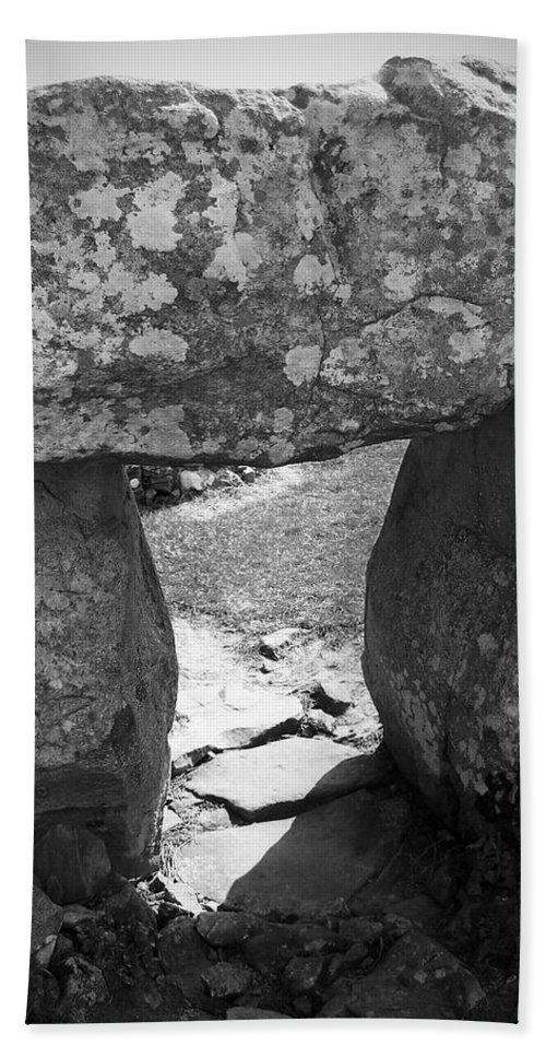 Ireland Bath Sheet featuring the photograph Gallery Entrance At Creevykeel Court Cairn Ireland by Teresa Mucha