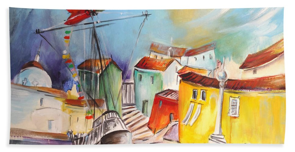 Portugal Hand Towel featuring the painting Gallion In Vila Do Conde by Miki De Goodaboom