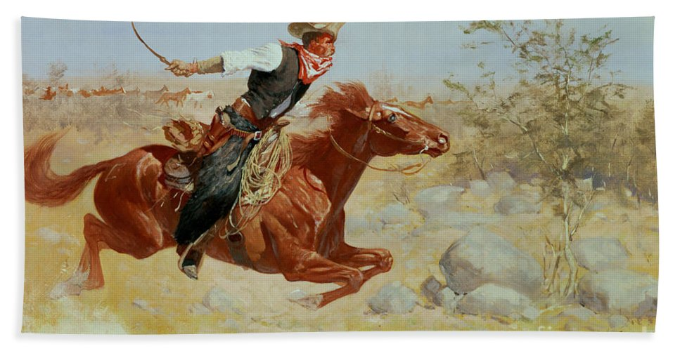 Galloping Horseman Hand Towel featuring the painting Galloping Horseman by Frederic Remington