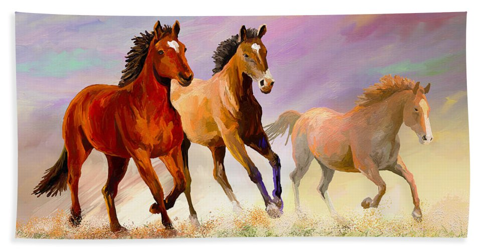 Horse Bath Towel featuring the painting Galloping Horses by Anthony Mwangi