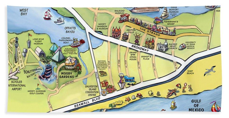 Galveston Bath Sheet featuring the digital art Galveston Texas Cartoon Map by Kevin Middleton