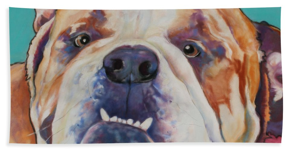 Pat Saunders-white Pet Portraits Bath Sheet featuring the painting Game Face  by Pat Saunders-White