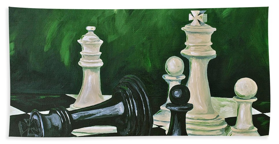 Toys / Games Kids Games Chess Game King Kids Toys Hand Towel featuring the painting Game Over by Herschel Fall