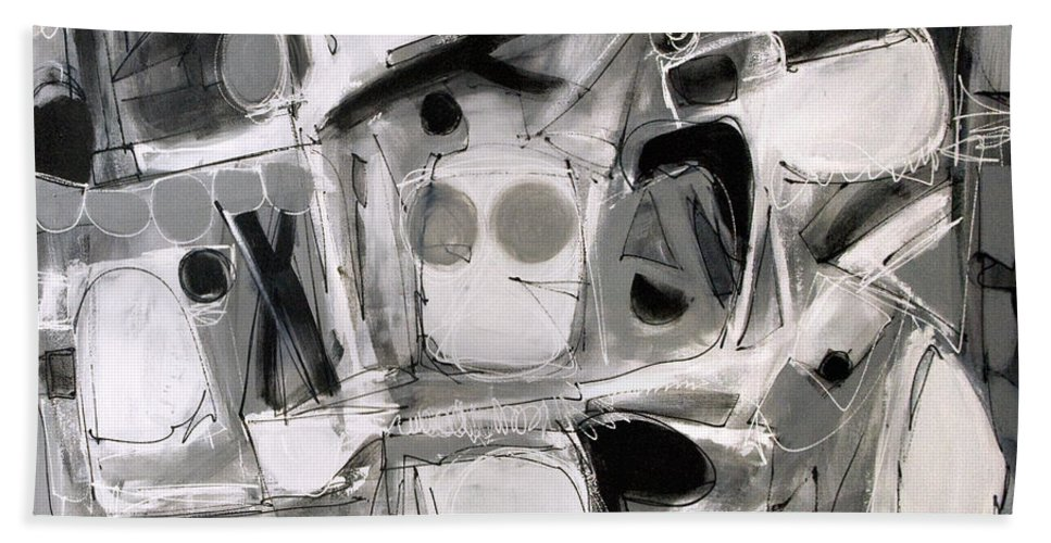 Abstract Bath Sheet featuring the painting Games We Play by Lynne Taetzsch