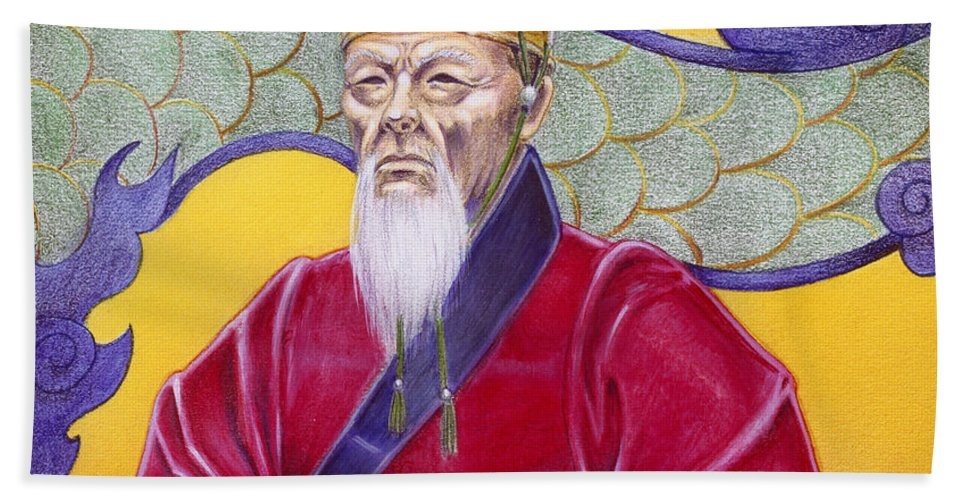 Oriental Bath Towel featuring the painting Gao Zhang by Melissa A Benson
