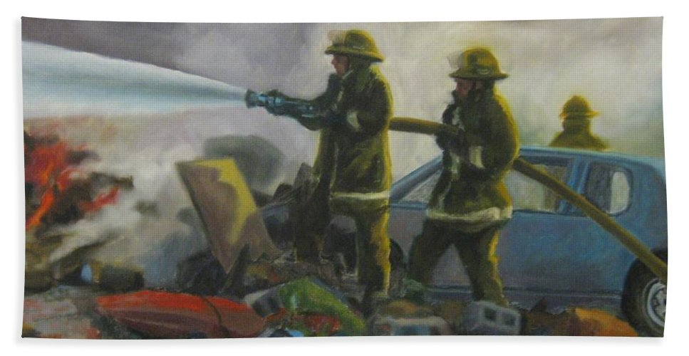 Firefighters Bath Sheet featuring the painting Garage Fire by John Malone