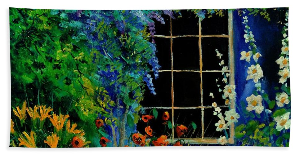 Flowers Hand Towel featuring the painting Garden 88 by Pol Ledent