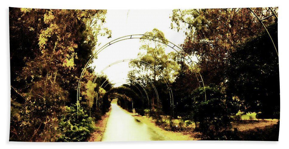 Arches Bath Sheet featuring the photograph Garden Arches Of Gold by Douglas Barnard