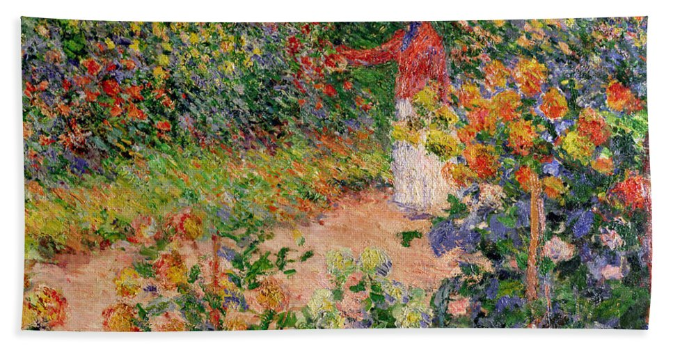 Garden At Giverny Bath Towel featuring the painting Garden at Giverny by Claude Monet
