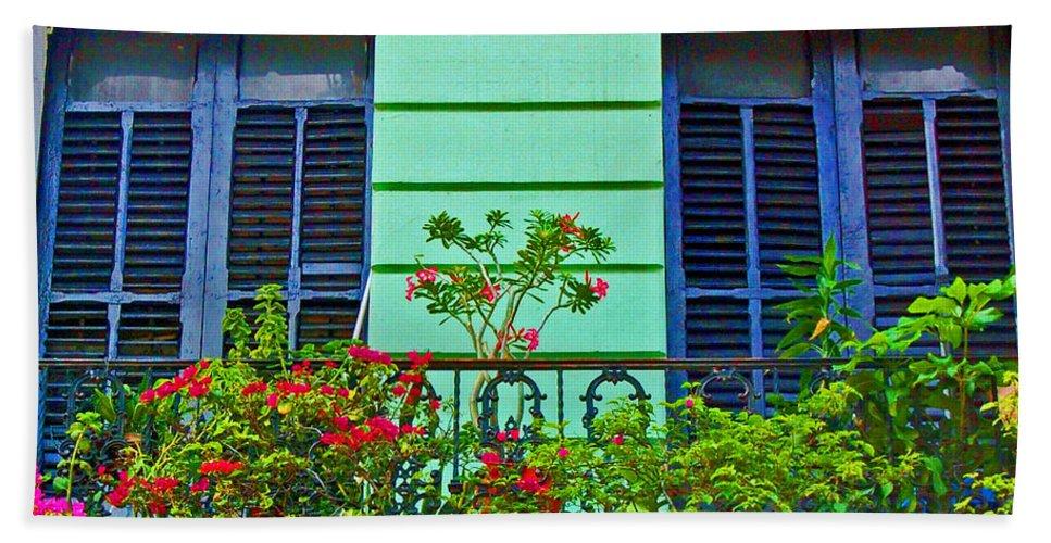Garden Bath Towel featuring the photograph Garden Balcony by Debbi Granruth