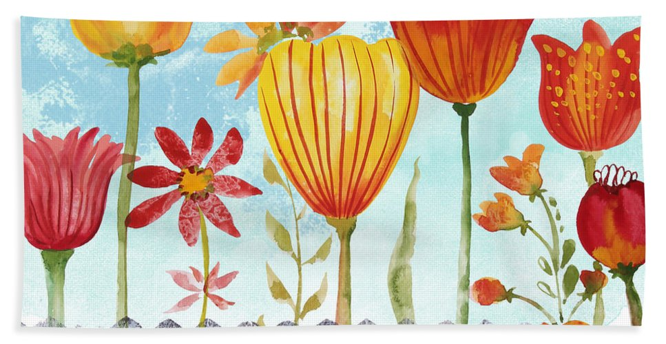 Watercolor Painting Bath Sheet featuring the painting Garden Beauty-jp2960b by Jean Plout