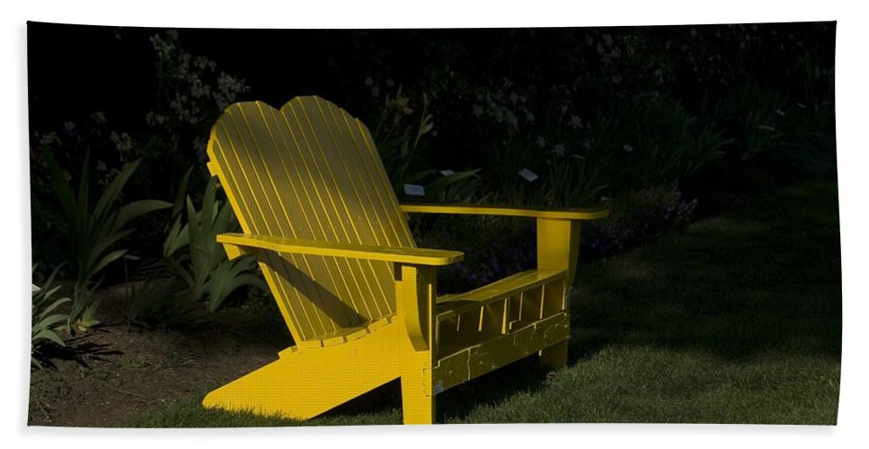 Bench Bath Sheet featuring the photograph Garden Bench Yellow by Sara Stevenson