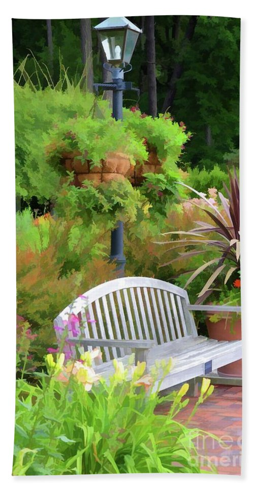 Bench And Containers Bath Sheet featuring the painting Garden Benches 5 by Jeelan Clark