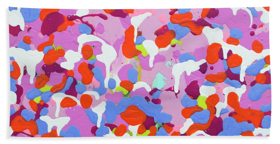 Abstract Hand Towel featuring the painting Garden Camo by Claire Desjardins