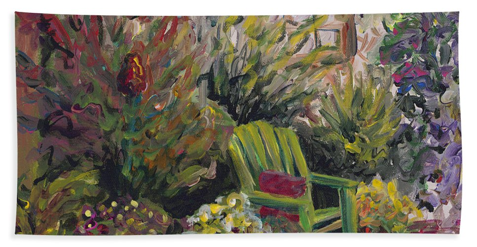Green Bath Towel featuring the painting Garden Escape by Nadine Rippelmeyer
