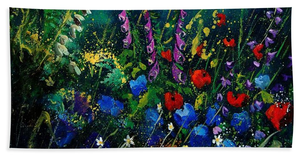 Flowers Hand Towel featuring the painting Garden Flowers 56 by Pol Ledent
