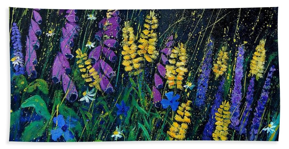 Flowers Hand Towel featuring the painting Garden Flowers 679080 by Pol Ledent